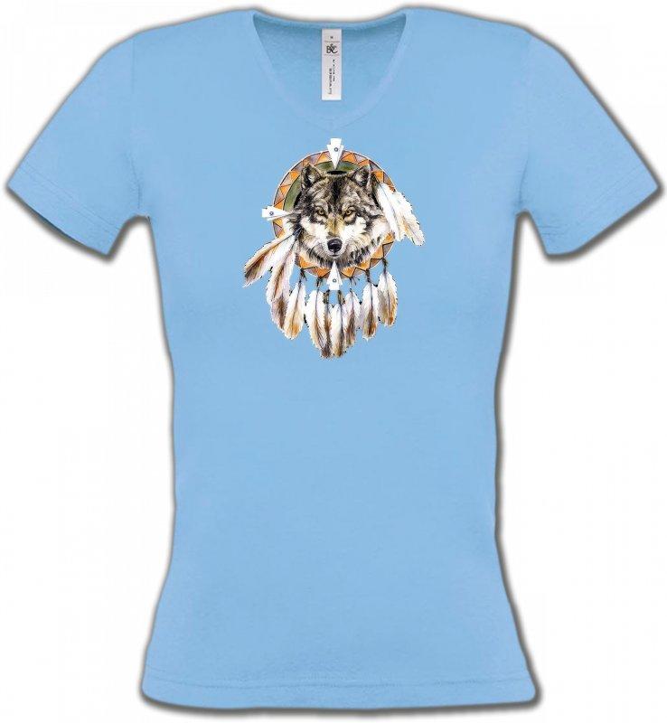 T-Shirts Col V FemmesLoupsLoup indien (S)