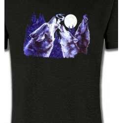 T-Shirts Animaux de la nature Loups hurlants dans la nuit