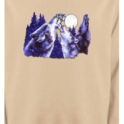 Sweatshirts Animaux de la nature Loups hurlants dans la nuit