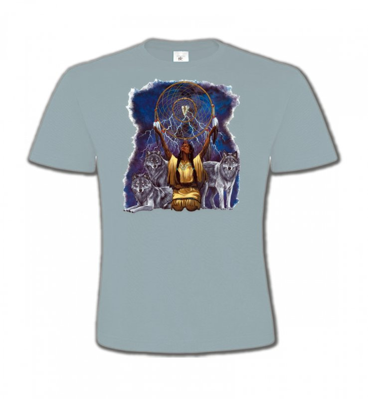 T-Shirts Col Rond EnfantsLoupsLoups et attrape rêve (B2) (F)