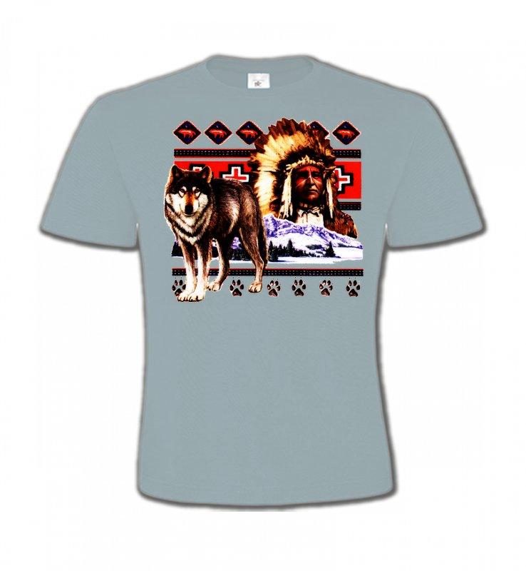 T-Shirts Col Rond EnfantsLoupsIndien et Loup (P)