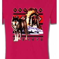 T-Shirts T-Shirts Col Rond Enfants Indien et Loup (P)