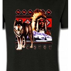 T-Shirts Indien et Amérindiens Indien et Loup (P)