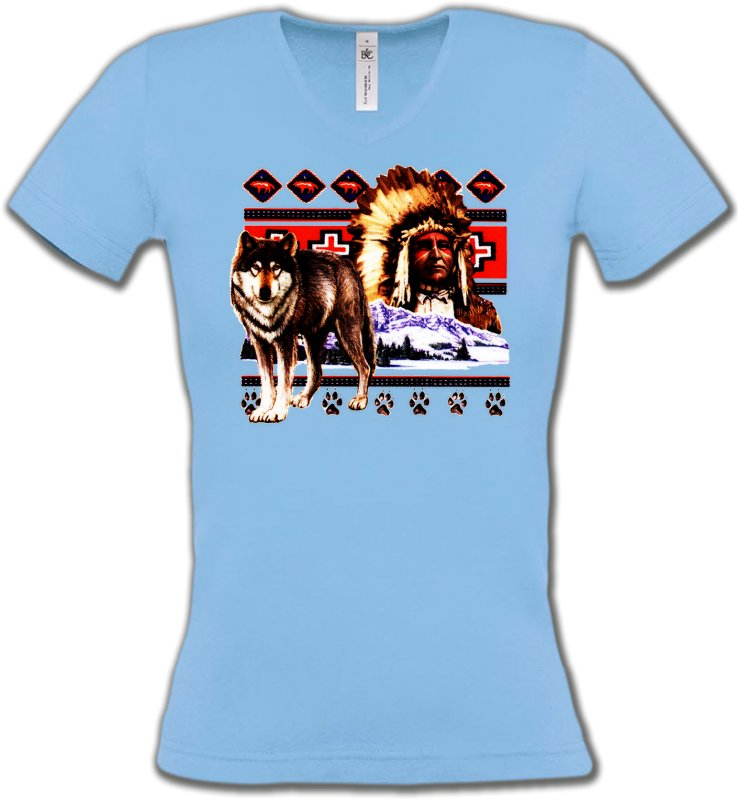 T-Shirts Col V FemmesLoupsIndien et Loup (P)