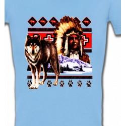 T-Shirts T-Shirts Col V Femmes Indien et Loup (P)