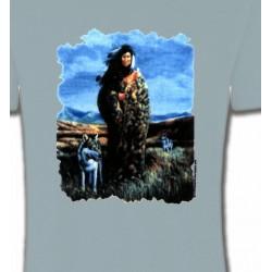 T-Shirts Indien et Amérindiens Loup indienne paysage (V)