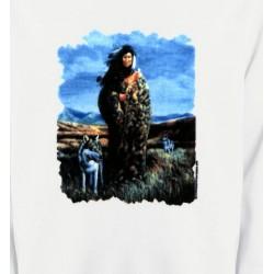 Sweatshirts Loups Loup indienne paysage (V)