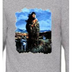 Sweatshirts Animaux de la nature Loup indienne paysage (V)