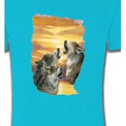 T-Shirts Animaux de la nature Loups crépuscule (H)