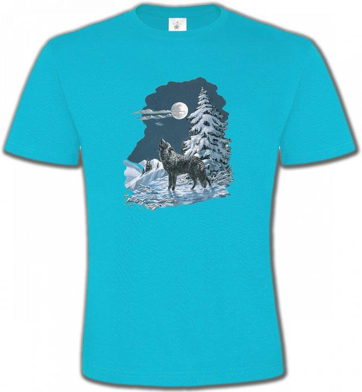 T-Shirts Col Rond UnisexeLoupsLoup dans la neige (T)