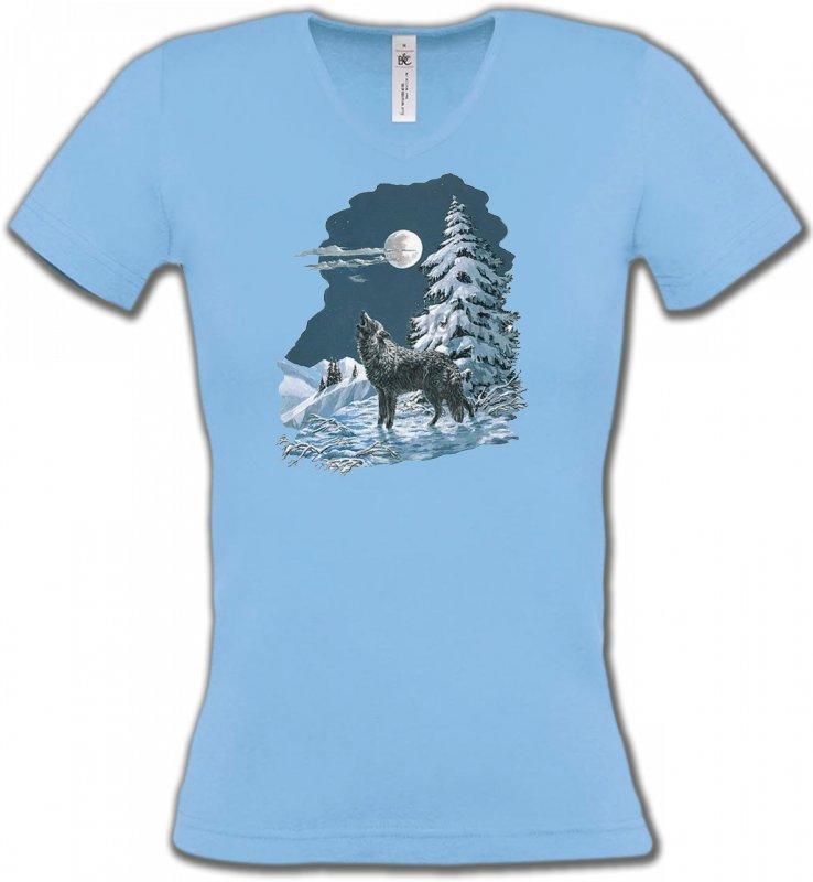T-Shirts Col V FemmesLoupsLoup dans la neige (T)