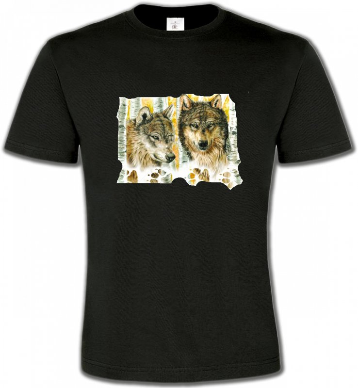 T-Shirts Col Rond UnisexeLoupsLoups dans la forêt (O)