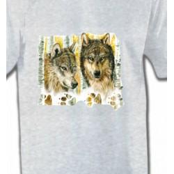 T-Shirts Animaux de la nature Loups dans la forêt (O)