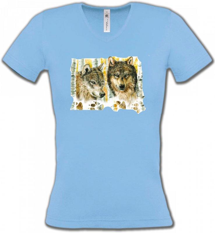 T-Shirts Col V FemmesLoupsLoups dans la forêt (O)