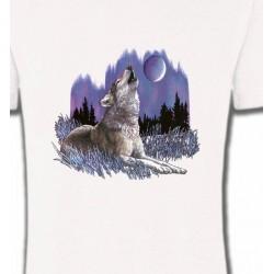 T-Shirts Animaux de la nature Loup sous la lune (L)