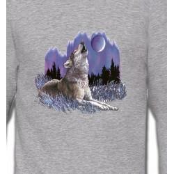 Sweatshirts Loups Loup sous la lune (L)