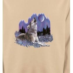 Sweatshirts Animaux de la nature Loup sous la lune (L)