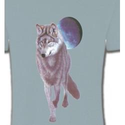 T-Shirts Animaux de la nature Loup devant la pleine lune