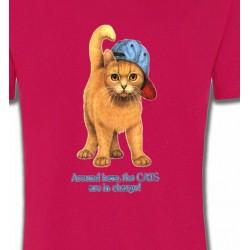 T-Shirts T-Shirts Col Rond Enfants Chat roux Humour