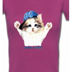 T-Shirts T-Shirts Col V Femmes Chaton Ragdoll (Z2)