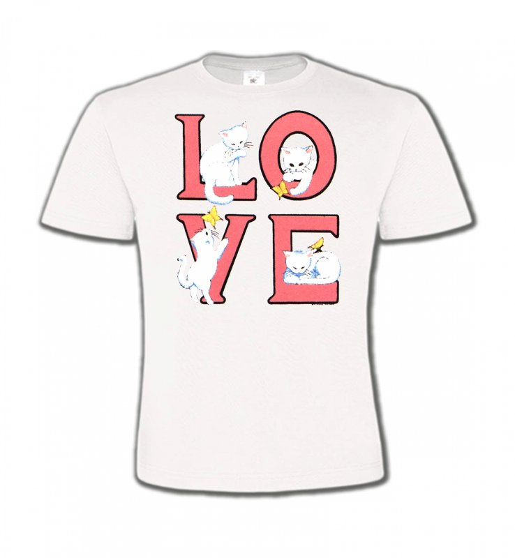T-Shirts Col Rond EnfantsRaces de chatsChat Love (A3)