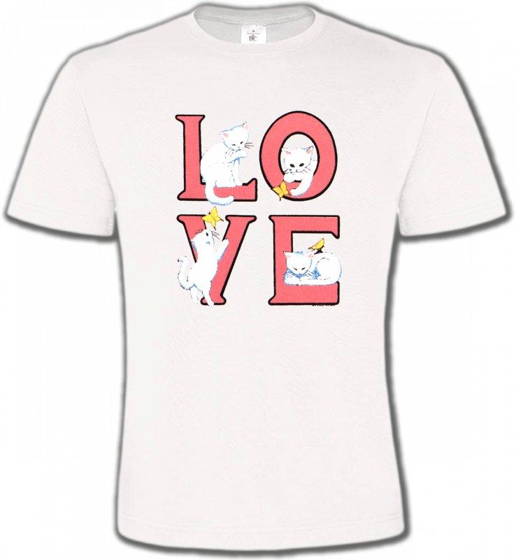 T-Shirts Col Rond UnisexeRaces de chatsChat Love (A3)