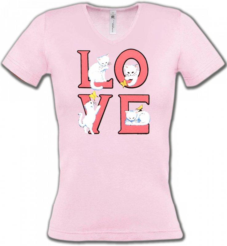 T-Shirts Col V FemmesRaces de chatsChat Love (A3)