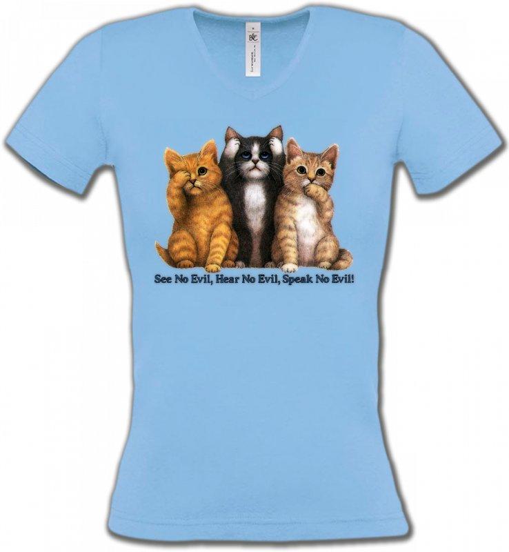 T-Shirts Col V FemmesRaces de chatsChatons humour (I)