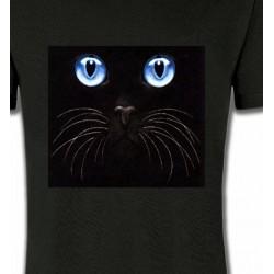 T-Shirts T-Shirts Col Rond Unisexe Chat noir yeux bleus (S)