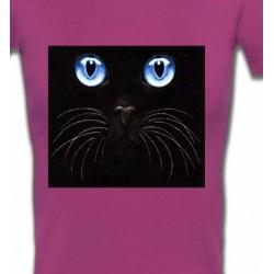 T-Shirts T-Shirts Col V Femmes Chat noir yeux bleus (S)