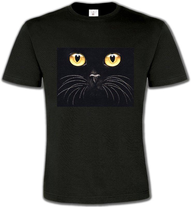 T-Shirts Col Rond UnisexeRaces de chatsChat noir (H1)