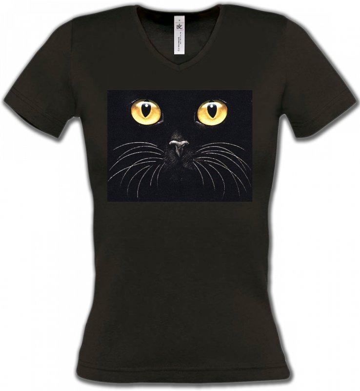 T-Shirts Col V FemmesRaces de chatsChat noir (H1)