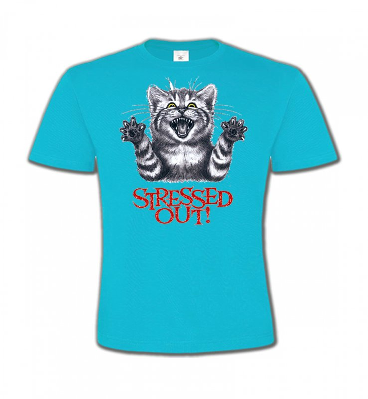 T-Shirts Col Rond Enfants Races de chats Chat humour Stressed Out (V)