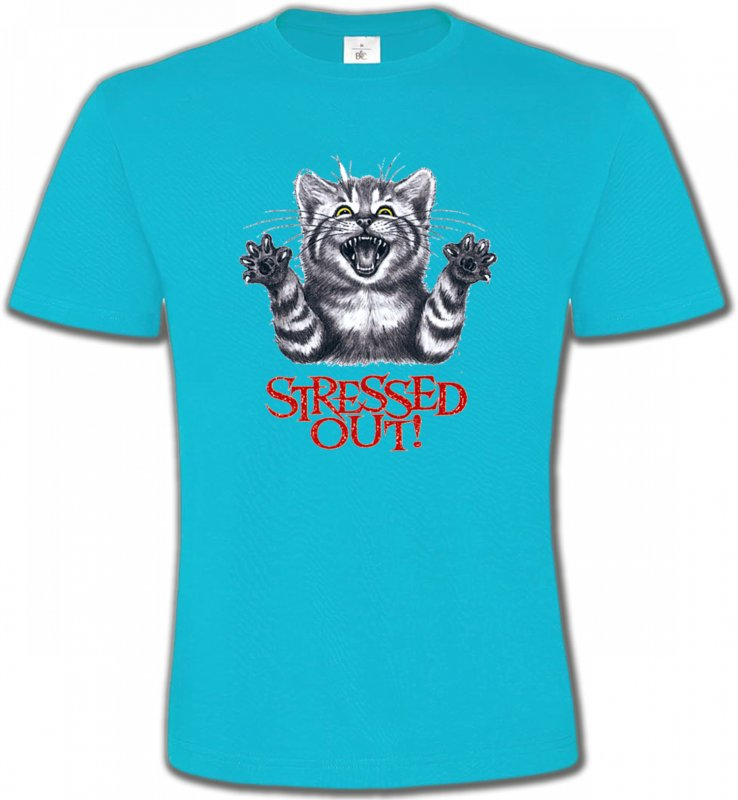 T-Shirts Col Rond Unisexe Races de chats Chat humour Stressed Out (V)