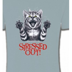 T-Shirts T-Shirts Col Rond Unisexe Chat humour Stressed Out (V)