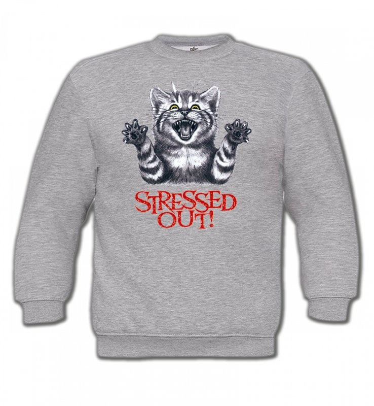 Sweatshirts Enfants Races de chats Chat humour Stressed Out (V)