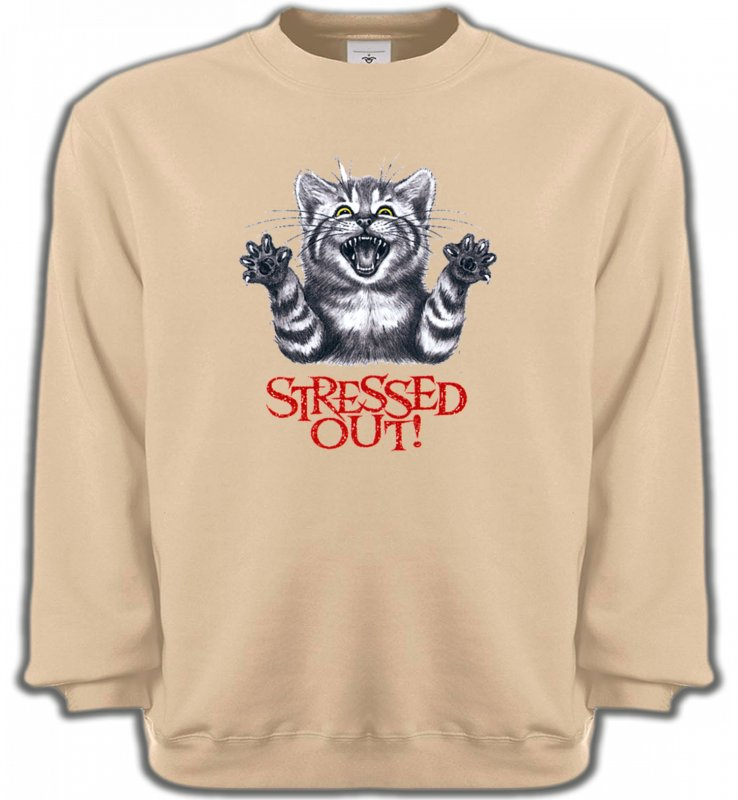 Sweatshirts UnisexeRaces de chatsChat humour Stressed Out (V)