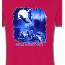 T-Shirts Aquatique Dauphins au clair de lune
