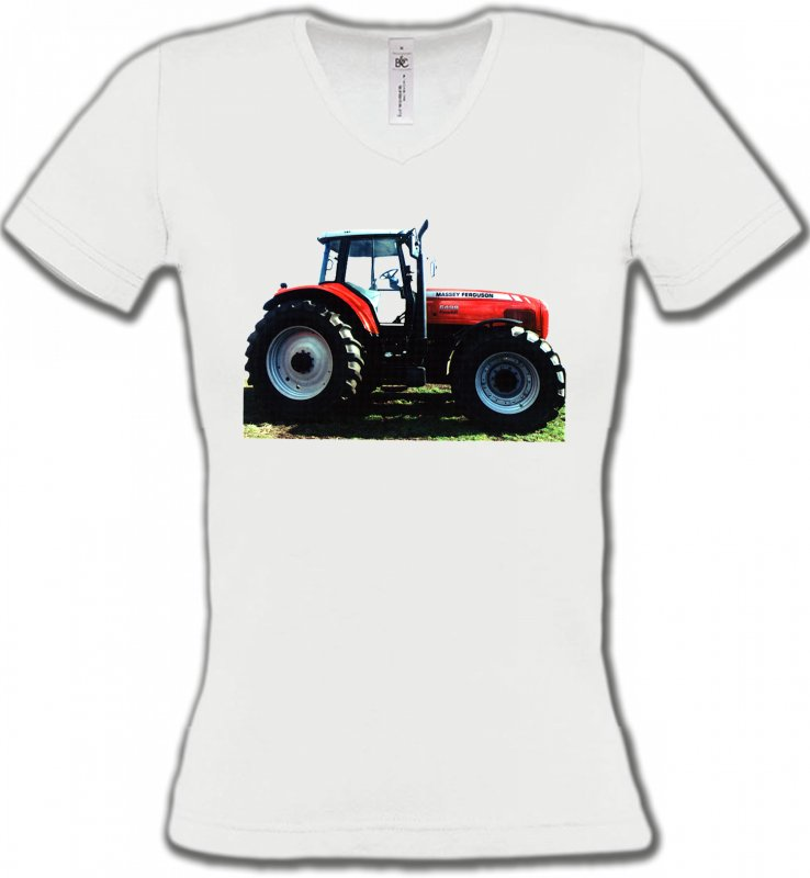 T-Shirts Col V FemmesTracteursTracteur MASSEY FERGUSON (R)