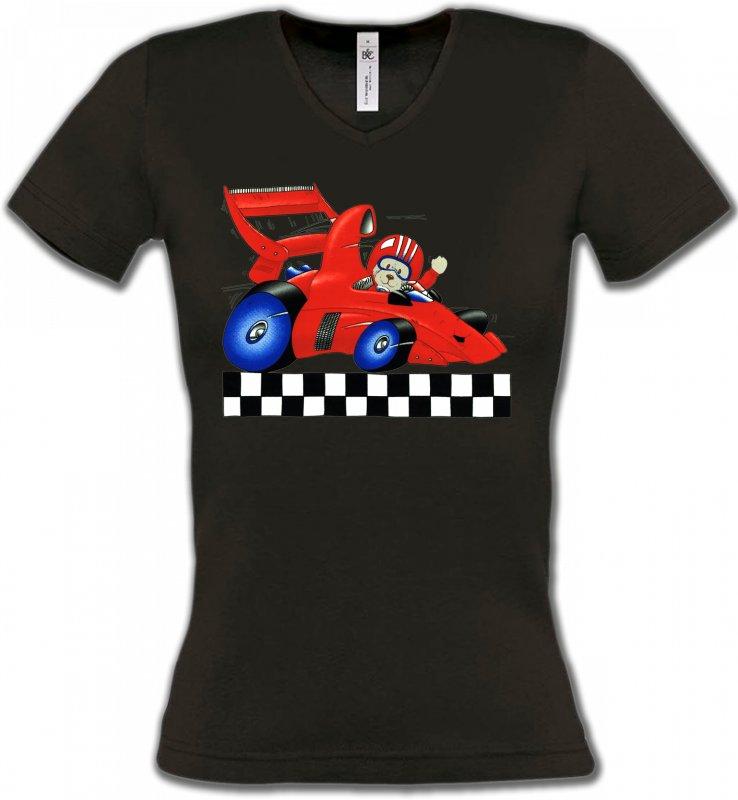 T-Shirts Col V FemmesEnfantsNounours dans voiture de course (K2)