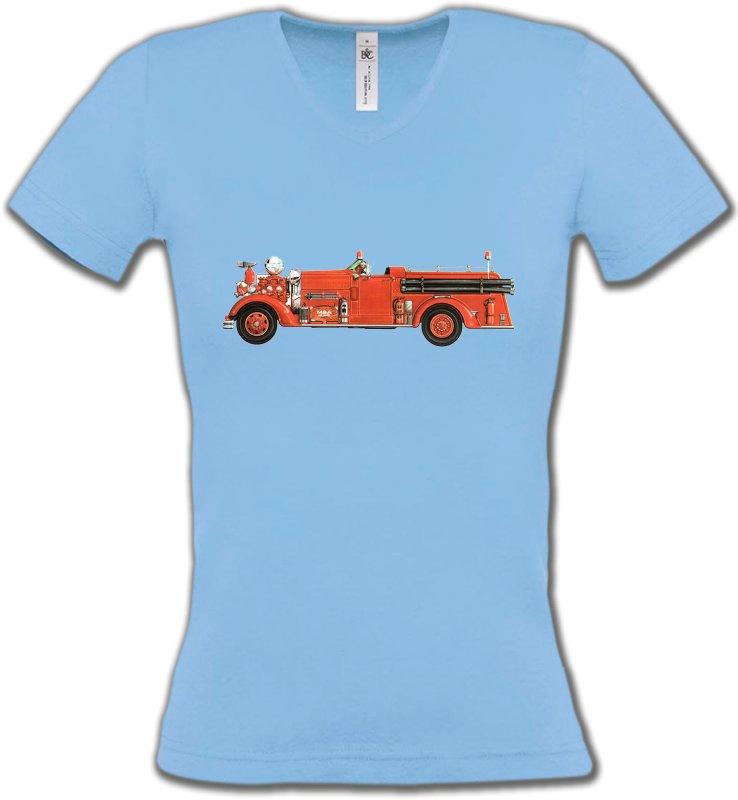 T-Shirts Col V FemmesCamionsCamion de pompier (J)