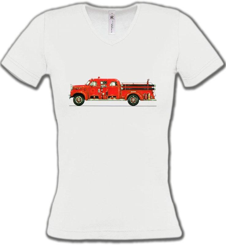 T-Shirts Col V FemmesCamionsCamion de pompier (L)