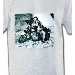 T-Shirts Fleurs/Romantique Couple romantique sur moto