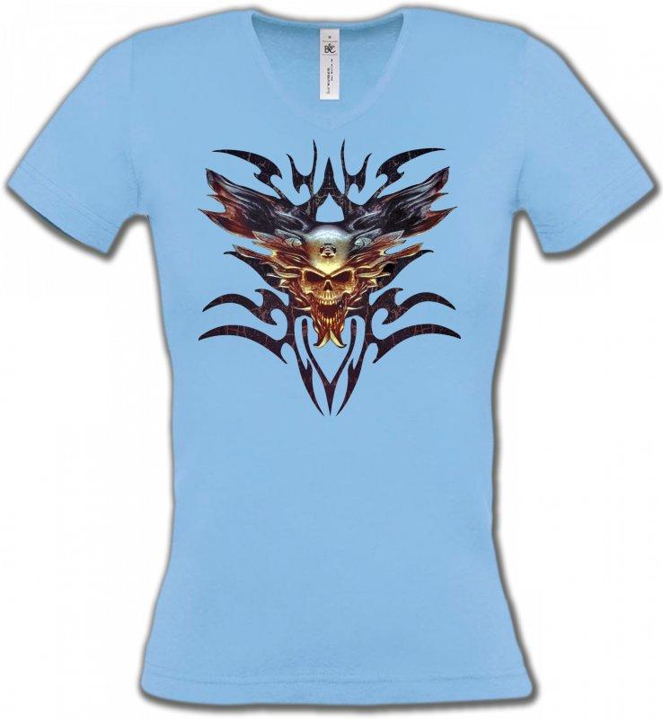T-Shirts Col V FemmesDragonsBikers tribal (V)