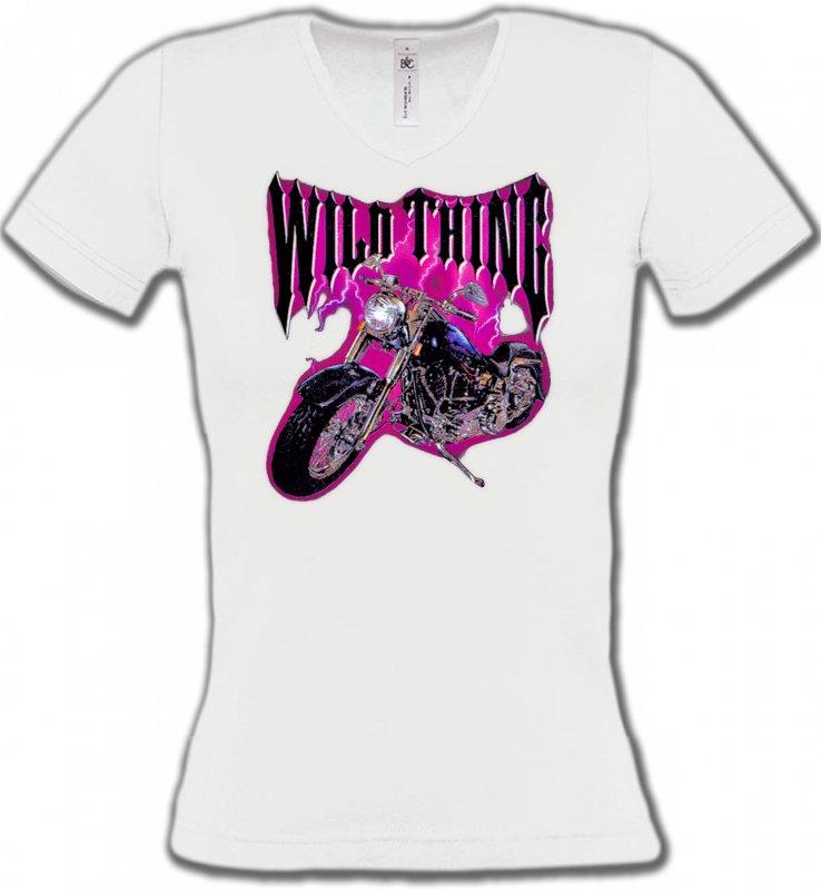 T-Shirts Col V FemmesTribal Métal CeltiqueMoto Wild Thing