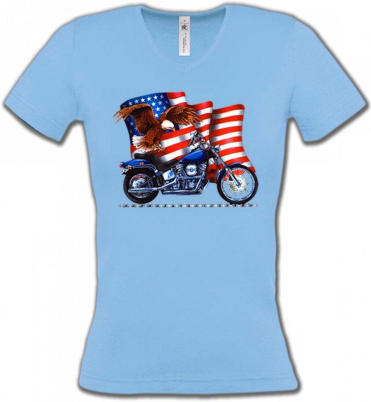 T-Shirts Col V FemmesAiglesAigle et moto américaine
