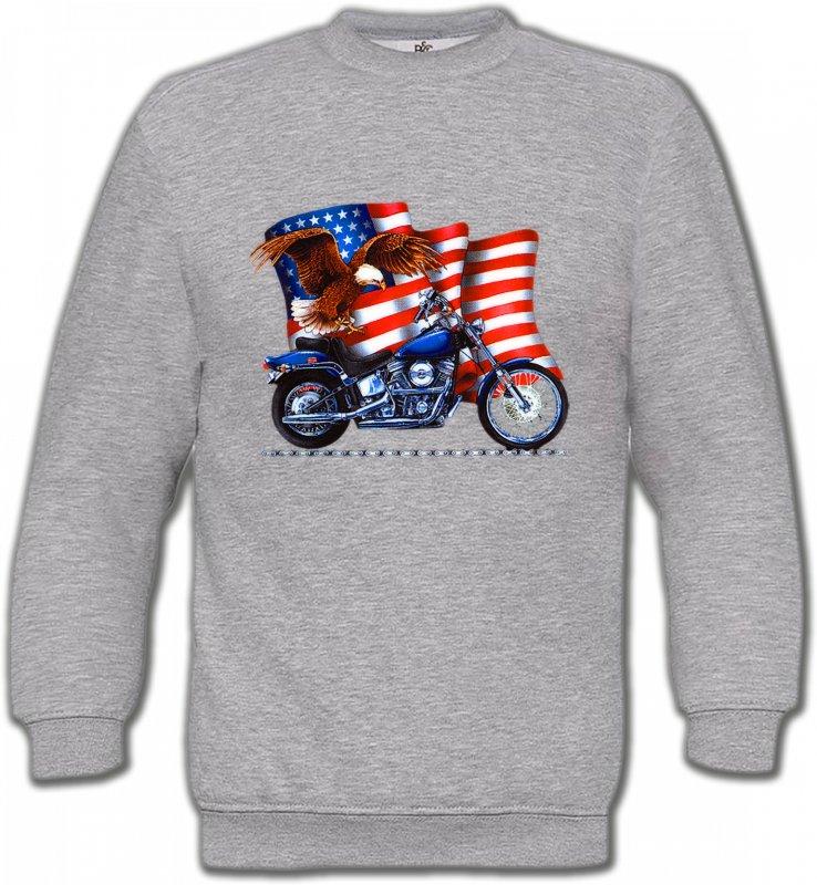 Sweatshirts UnisexeAiglesAigle et moto américaine