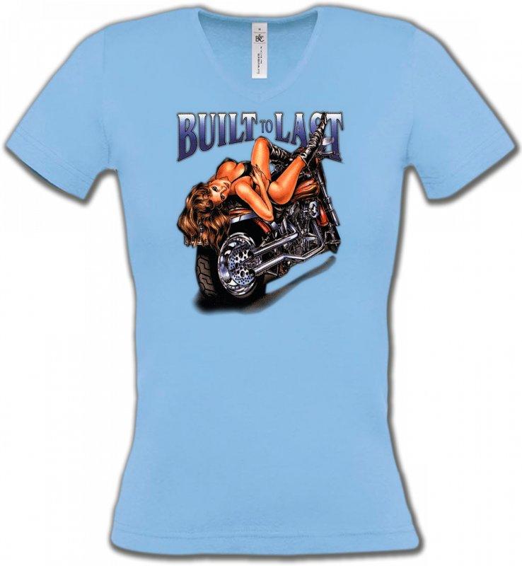 T-Shirts Col V FemmesTribal Métal CeltiqueMoto et Bimbo