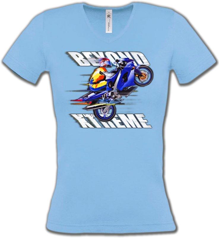 T-Shirts Col V FemmesSports et passionsMoto Xtreme (C)