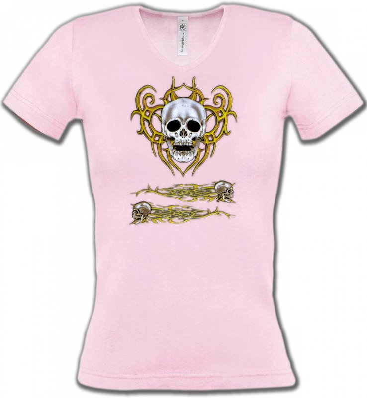 T-Shirts Col V FemmesTribal Métal CeltiqueCrâne tribal (Bikers)